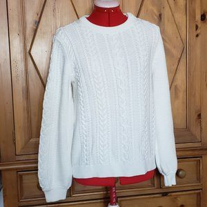 NWT Banana Republic Ivory Cable Crew Sweater, M